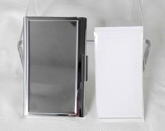 10 Kits-DIY  Blank business card card holder, Stainless steel business card holder blank,Engravable business card holder,Epoxy Stickers