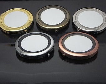 25 Kits 70mm Round Blank Pocket Mirror with 58mm metal disc setting for fabric, Compact mirror blank, Engravable Pocket Mirrors M001