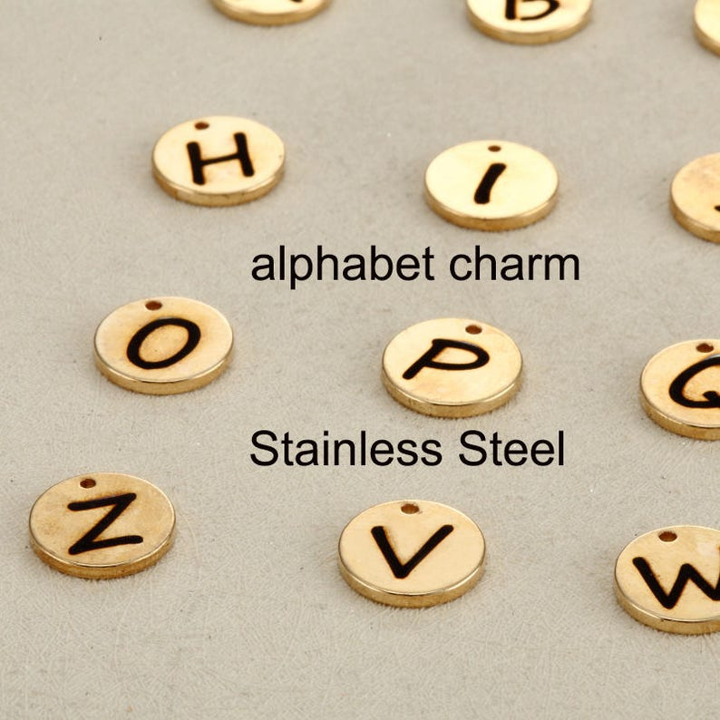26Pcs Letters Round Charms Pendants Jewelry Finding DIY Making Accessories