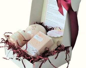 Spa Bath Set, Spa Gift Set, Rose Bath Gifts, Gift for Her, Bath Set, Birthday Gift, Organic Bath Set, Rose Gifts, Bath Gifts, Body Care Set
