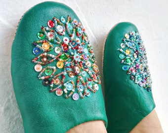 Genuine Slippers, Moroccan Woman Slippers, Leather Slippers, Handmade Leather Slippers, Fashion Slippers, Traditional Shoes, Home Slippers