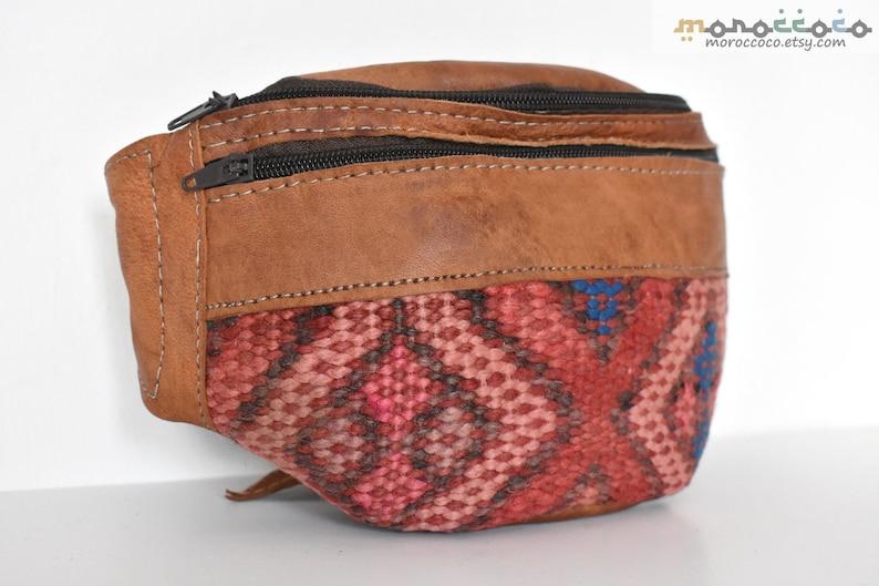 Pink /& Blue Geometric Fanny Pack Design Brown Bag