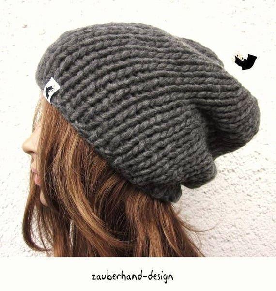 handknit beanie hat gray merino wool chunky knit hat womens  b73fe2e441e