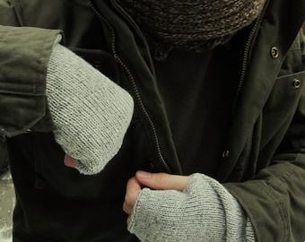 mens fingerless gloves,  knit  mittens,  cuffs for him,  gift for men, wristwarmers *FUN-alp-man*