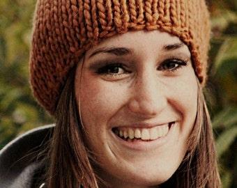 chunky knit wool beanie,  knit warm cap, autumn winter, rust brown, terrakotta    MANDY-merino
