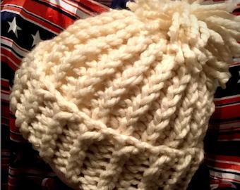 Olympic hat. USA hat. Chunky beanie. Snowboarding hat. Knit winter hat. Pompom beanie hat. Chloe Kim Hat. Halfpipe hat. Olympics 2018. Kim