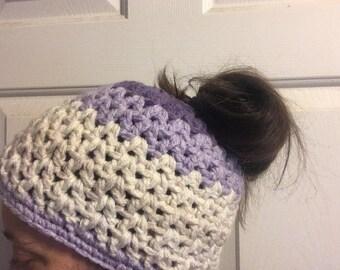 Messy bun ponytail hat, women's hat
