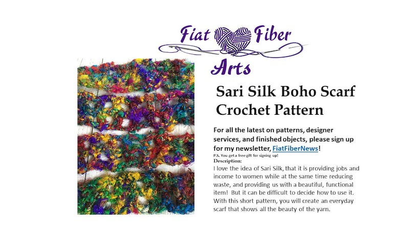 Sari Silk Boho Scarf Pattern Crochet Pattern Silk Scarf image 0
