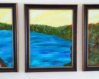 """3-Piece Oil on Canvas, Entitled: """"Wish You Were Here (#5)"""""""