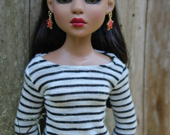 Black-and-White Striped Rayon Sweater for Ellowyne Wilde