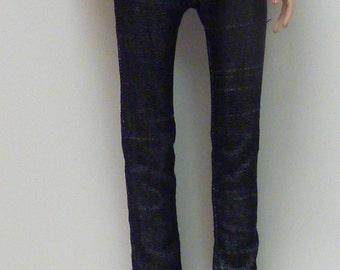 Black Slub Denim Skinny Jeans for Ellowyne Wilde