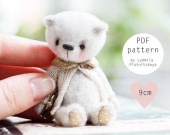 Miniature teddy bear pattern, cute artist  bear sewing pattern, joint teddy bear,  mini soft toy pattern 3.5 inch, instant download pdf