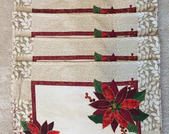 Tapestry Poinsettia Place mats - Set of 5