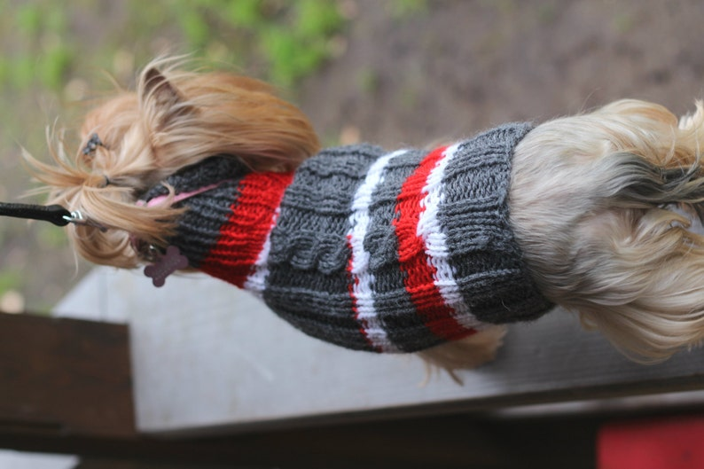 Hand knitted Small Dog Sweater Jumper Wear Dress Turtle neck pet animal yorkshire terrier handmade