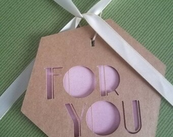 """Hexagon gift tags """"for you"""""""