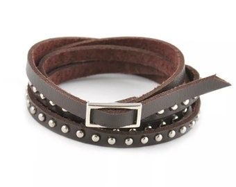 Leather studded layered bracelet