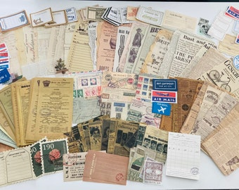 Vintage ephemera, Junk journal kit, Junk journal ephemera, Scrapbooking, Bullet Journal, junk journal supplies, vintage junk journal
