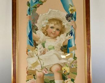 Spectacularly HUGE Chromolithograph Victorian 1906 Calendar Grand Union Tea