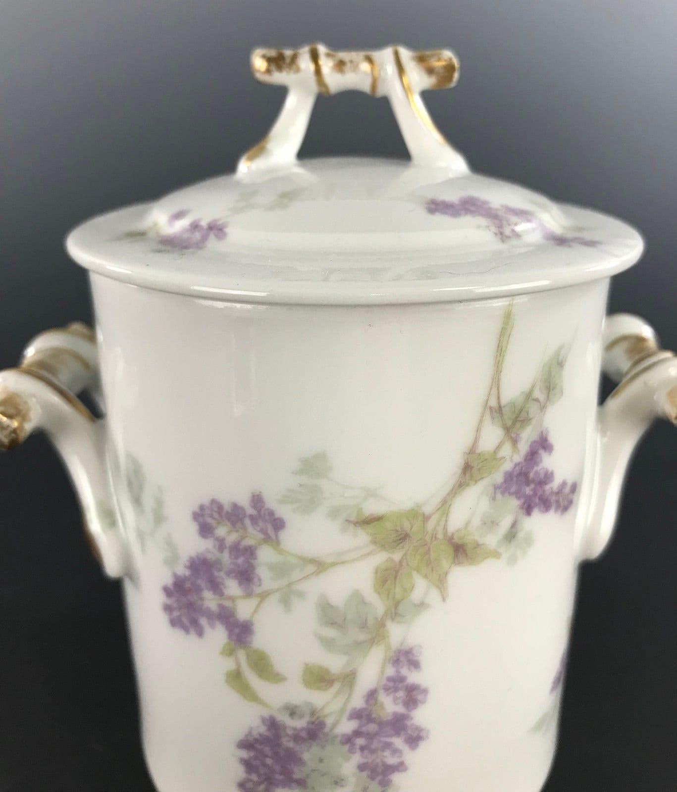 CF HAVILAND LIMOGES Porcelain Condensed Milk Covered Jar Purple Lilac Decor