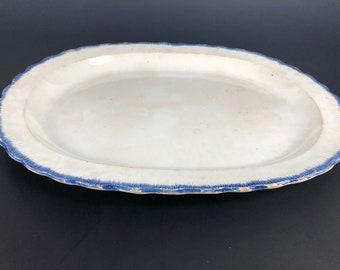 """LEEDS PEARLWARE PLATTER Blue and White Shell Edge circa 1790 18"""" x 13"""""""