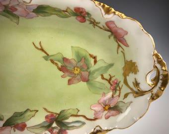 ROSENTHAL VERSAILLES Hand Painted Celery Artist Sig Wild Roses Gilding 1891-1906