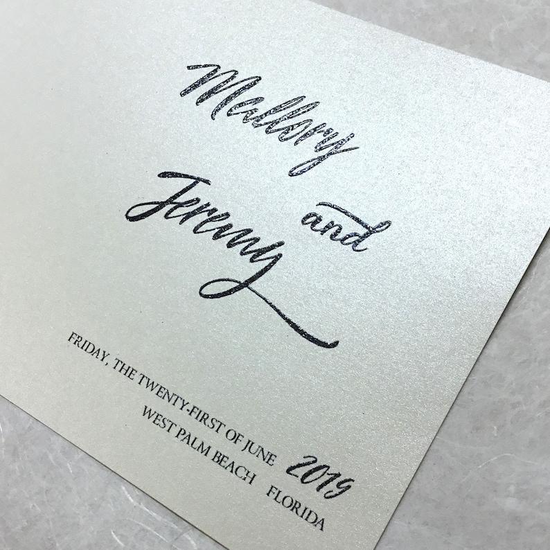 Custom Wedding Programs  event ceremony  square folded  metallic beige paper  thermo  raised glitter ink  black ink PR-34