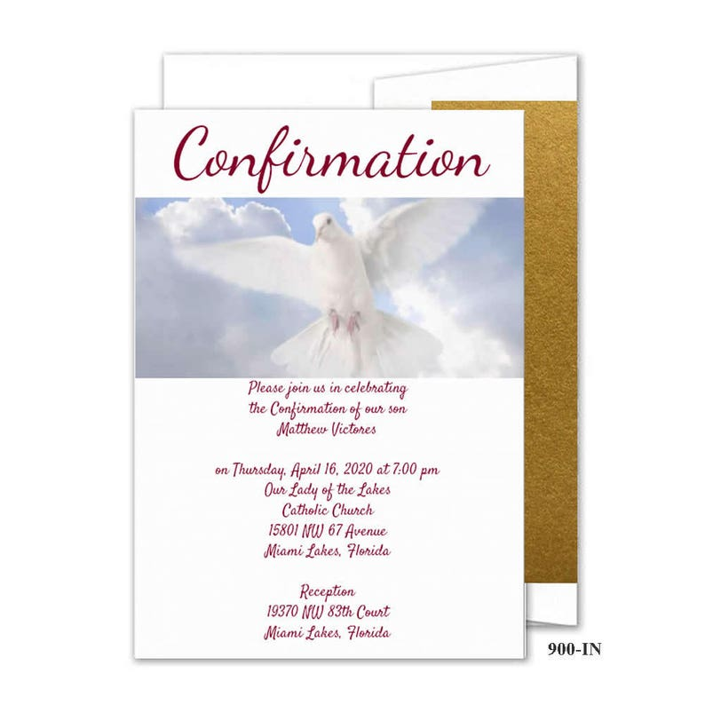 Confirmation Religieuse Invitations Cartes Religieuses Tarjetas Para La Confirmacion Colombe Bapteme Catholique 900 In