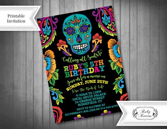 Skull Invitation Sugar Skull Invitation Day Of The Dead Etsy