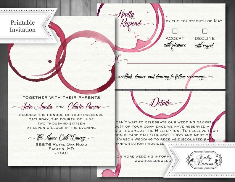 Wine Theme Wedding Invitation Vineyard Wedding Invite Wine Etsy