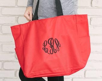 Monogrammed Everyday Zip Tote Bag - Red   Bridesmaid Tote Bag   Teacher Tote Bag   School Tote Bag   Embroidered Tote Bag