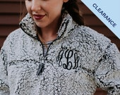 ON SALE Monogrammed Sherpa Quarter Zip Pullover Embroidered Sherpa Sweatshirt