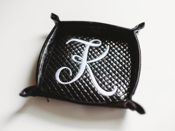 Embroidered Faux Crocodile Leather Jewelry Snap Tray Monogram Travel Jewelry Dish Personalized Valet Catchall Snap Tray