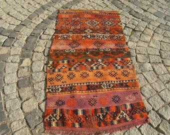 Turkish   Old  East  Anatolian   Kurdish   Herki   Kilim  Rug  29,1''  X  57''  inches