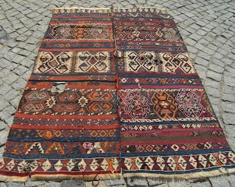 1900's  Primitive  Turkish  East  Anatolian  Double  Wings  Collectible  Fragment  Kilim  Rug 53,1'' X 77,1''