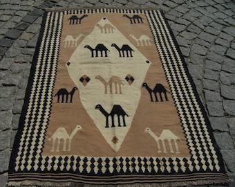 Vintage  Wonderful  Caucasian  Camel  Kilim  Rug  59,4'' X 40,1''  Area  Rug