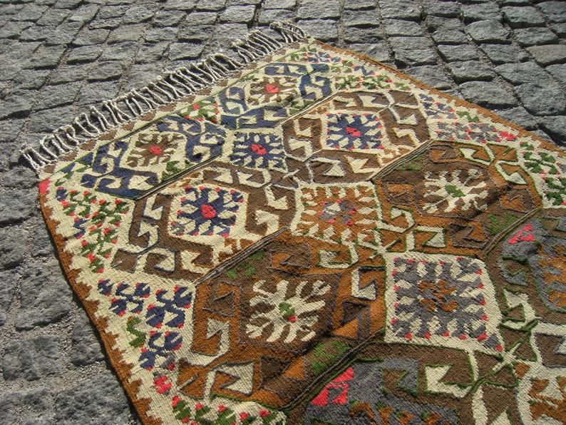 33/'/' x 40/'/' Anatolian Nomadic Weave Kilim Rug Adana Taurus Mountain Nomadic Kilim Rug Vintage Turkish Kilim Rug Organic Wool Kilim Rug,