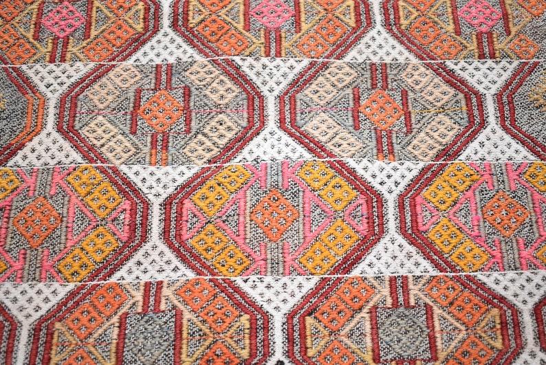 20/'/' x 30/'/' Antique Anatolian Mini Sivas Cicim Kilim Rug Embroidered Woven Kilim Rug, Terrific Turkish Cicim Kilim Rug Tribal Kilim Rug