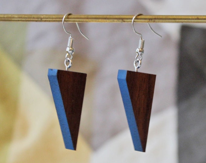 Reclaimed wood earrings - blue