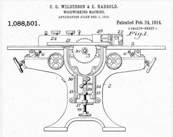 Crescent Machine Company Reproduction Patent Diagram Card