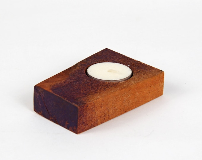 Reclaimed wood tea light candle holder - small