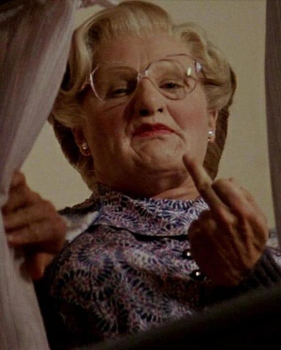 Men/'s Ladies T SHIRT classic movie film USA Mrs Doubtfire spoof Williams rude