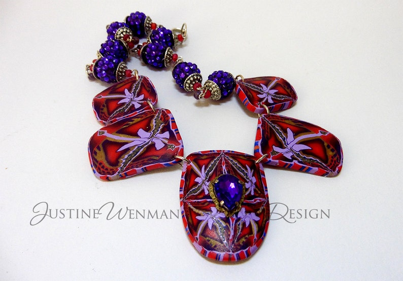 Purple Jewel Statement Necklace Polymer Clay Cane Slice image 0