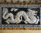 Gorgeous Large Vintage Handmade Kalaga Dragon Wall Tapestry.