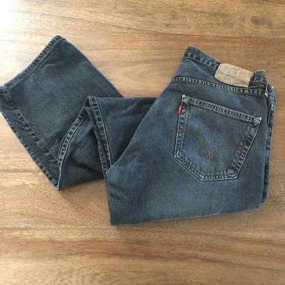 Vintage 1990s Levi's 501 Distressed Black Jeans S… - image 1