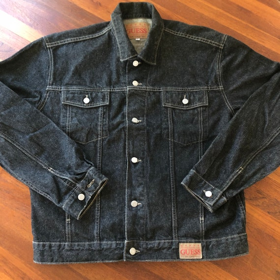 Vintage 1990s Guess Black Denim Jacket size XL