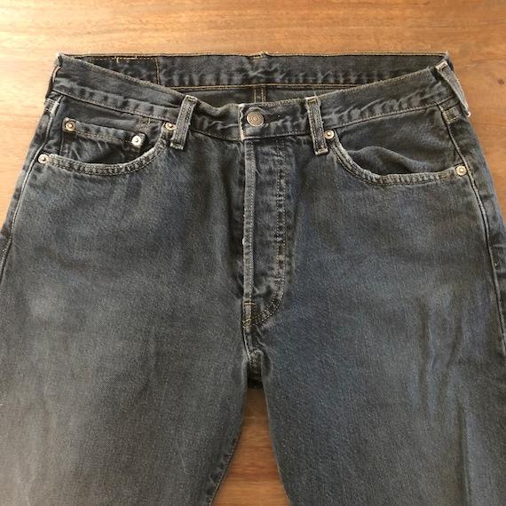 Vintage 1990s Levi's 501 Distressed Black Jeans S… - image 4