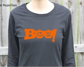 Boo Halloween Shirt, Long Sleeve Shirt, Womens Halloween shirt