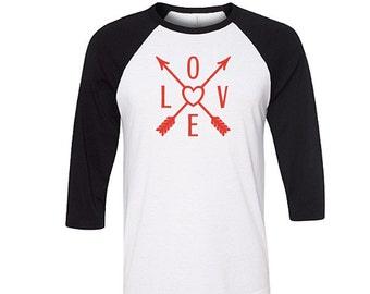 Bohemian Love Arrows Valentine Raglan Shirt, Valentine Shirt, Love Baseball Tee, Love Shirt, Bohemian Shirt, February Trends