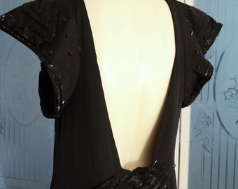 Vintage Oleg Cassini 80s Punk Couture Backless Beaded Silk Evening Gown Dress