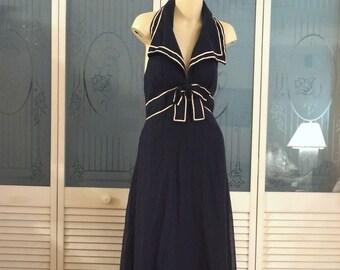 Vintage Miss Elliette 70s Sailor Halter Maxi Dress Gown